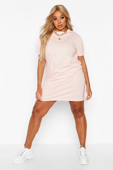 Nude Plus Ruched Knot Puff Sleeve T-Shirt Dress