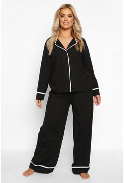 Black Plus Long Sleeve Button Through Jersey PJ Set