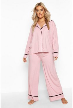 Blush pink Plus Long Sleeve Button Through Jersey PJ Set