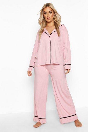Blush pink Plus Long Sleeve Button Through Jersey PJ Set