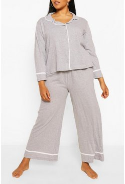 Grey Plus Long Sleeve Button Through Jersey PJ Set