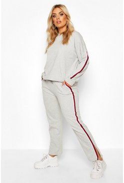 Grey marl grey Plus Loopback Trim Detail Hoody And Pants Set