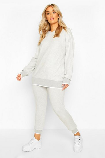 Light grey grey Plus Brushed Knitted Lounge Set