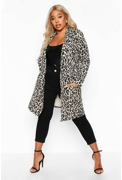 Tan brown Plus Leopard Print Duster