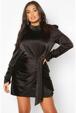 Black Plus High Neck Ruched Detail Satin Mini Dress