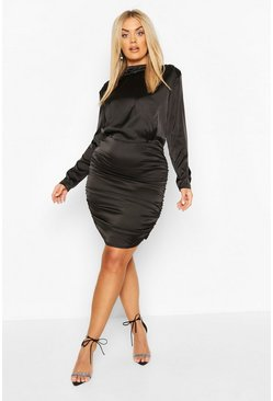 Black Plus High Neck Ruched Back Satin Mini Dress