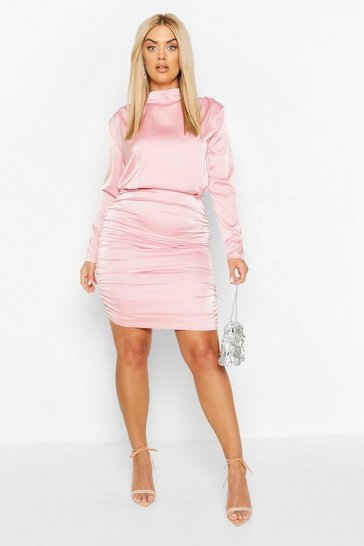 Blush pink Plus High Neck Ruched Back Satin Mini Dress