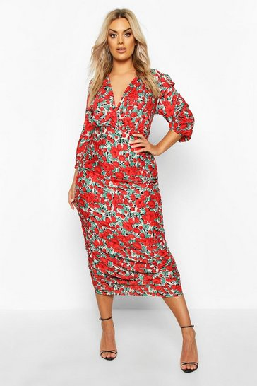 Red Plus Woven Large Floral Rose Ruched Wrap Dress