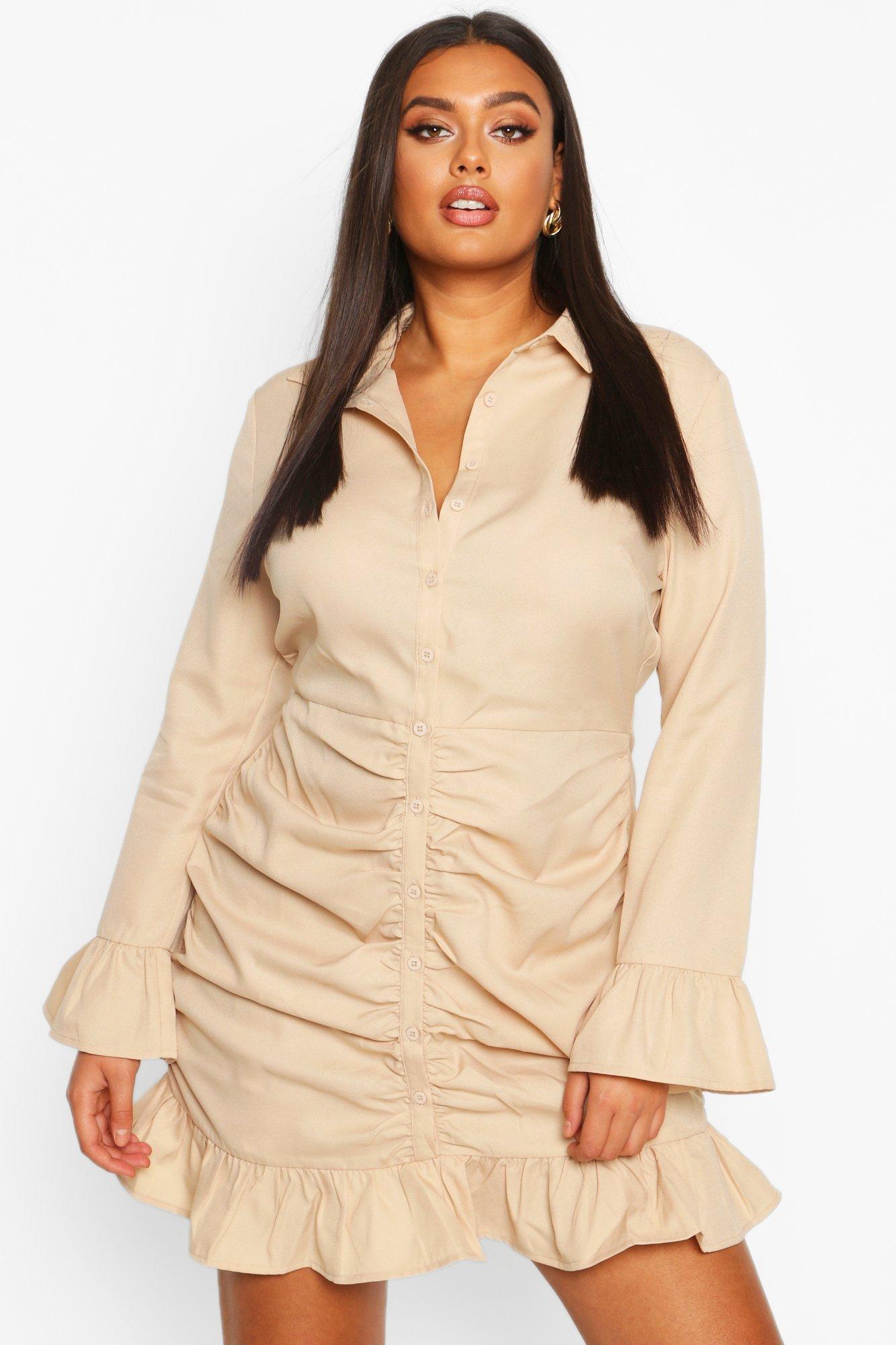 Plus Ruched Ruffle Hem Shirt Dress 6