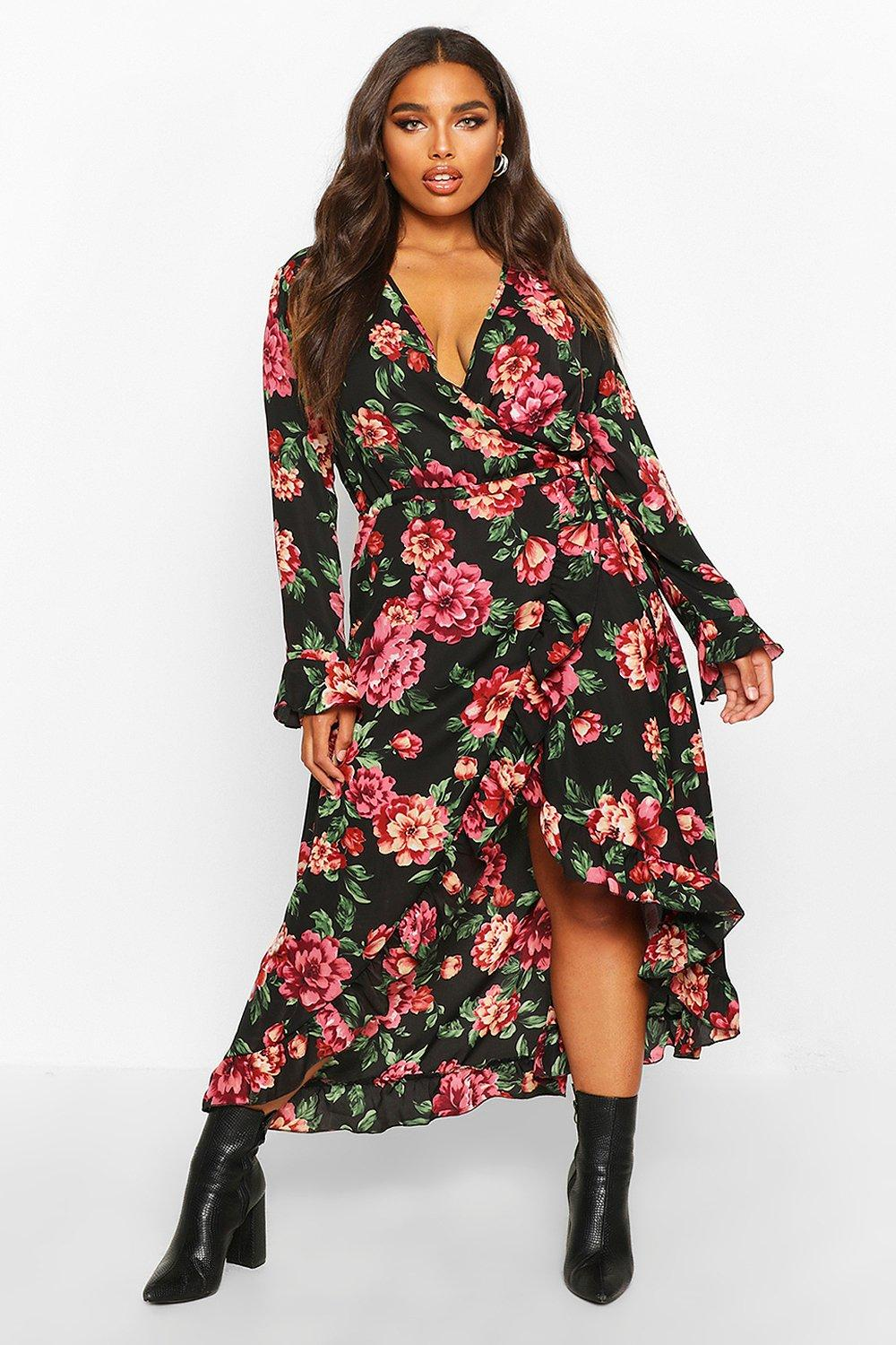Plus Floral Ruffle Wrap Midi Dress 8
