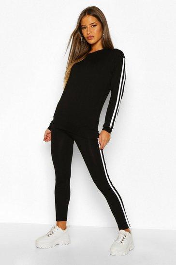 Black Petite Side Stripe Loungewear Set