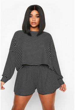 Black Plus Stripe Oversize T-Shirt + Short Rib Co-Ord