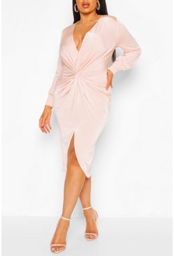 Blush Plus Twist Front Plunge Midi Dress
