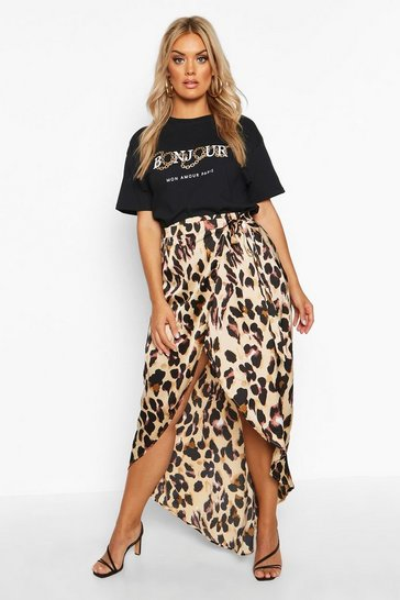 Brown Plus Leopard Print Wrap Tie Waist Maxi Skirt
