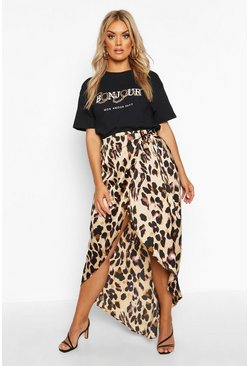 Brown Plus Leopard Print Wrap Tie Waist Maxi Skirt