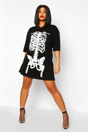 Black Plus Halloween Skeleton Print T-Shirt Dress