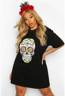 Black Plus Halloween Sugar Skull T-shirt Dress