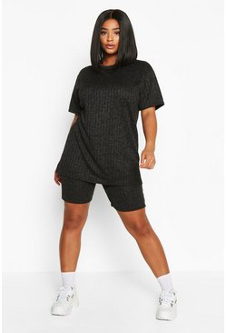 Black Plus Knitted Cycling Short Co-Ord