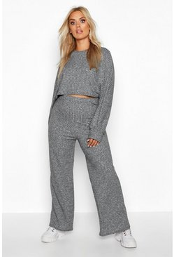 Grey Plus Slouchy Wide Leg Lounge Set