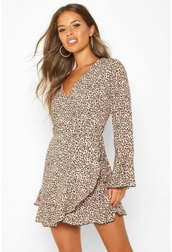 Tan brown Petite Leopard Print Wrap Skater Dress