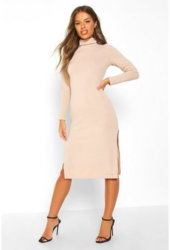 Nude Petite Rib Roll Neck Split Hem Midi Dress