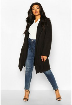 Black Plus Heavy Wool Look Wrap Duster Coat