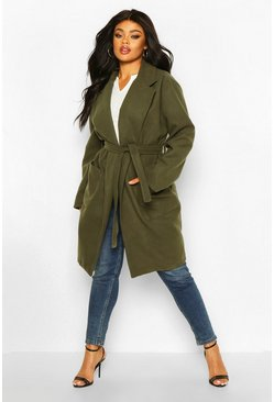 Khaki Plus Heavy Wool Look Wrap Duster Coat