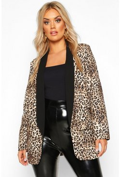 Brown Plus Contrast Lapel Leopard Print Blazer