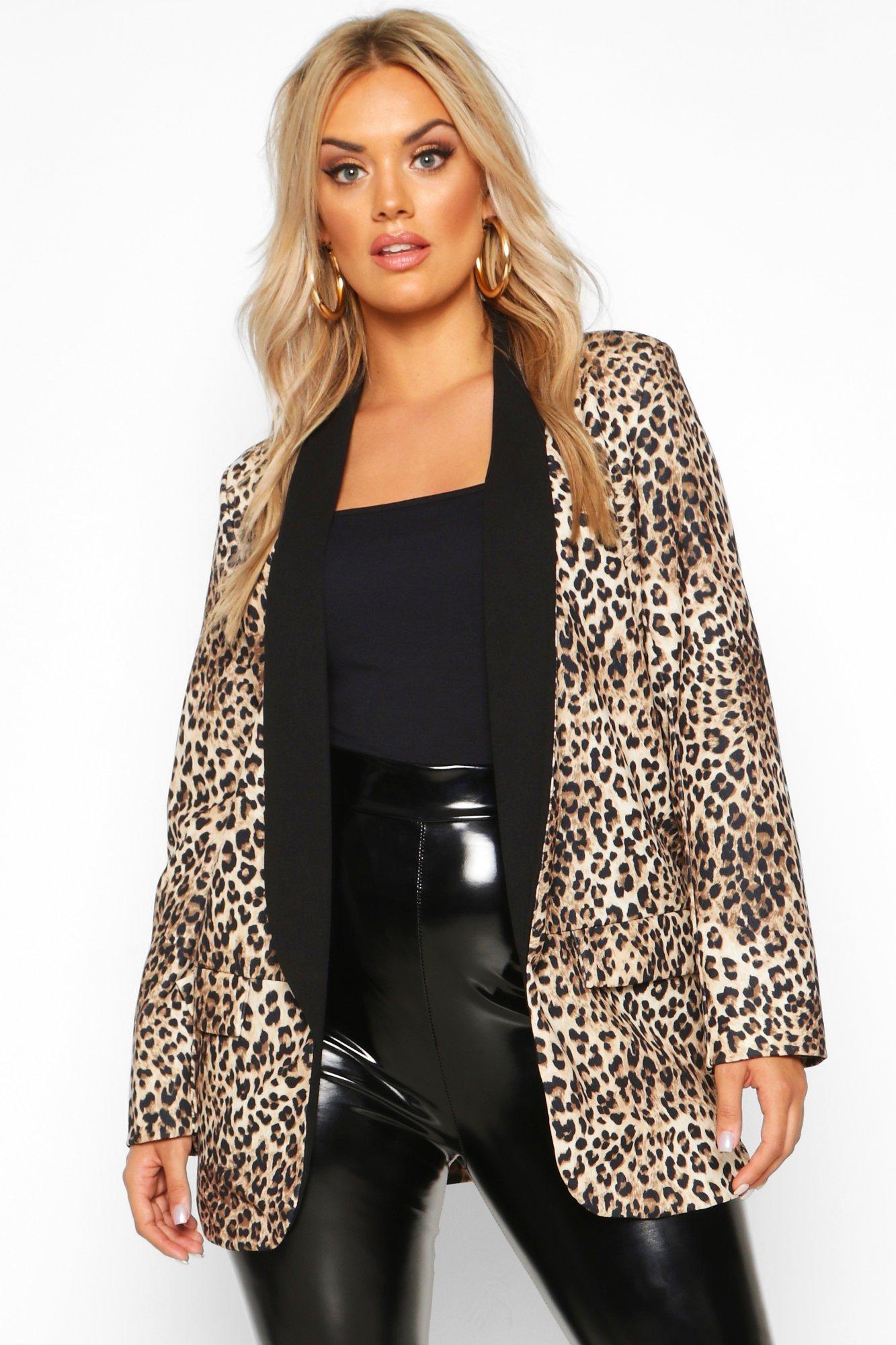 Leopard Print Coats Plus Contrast Lapel Leopard Print Blazer