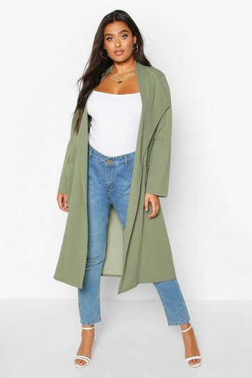 Khaki Plus Pocket Thick Duster Coat