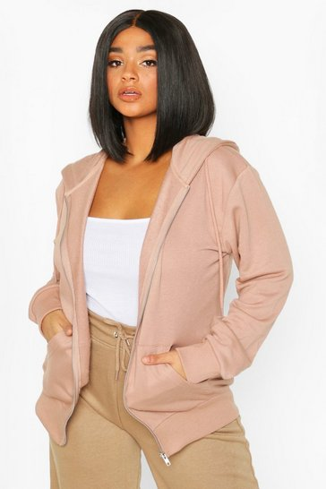 Camel beige Plus Basic Oversized Zip Through Hoody