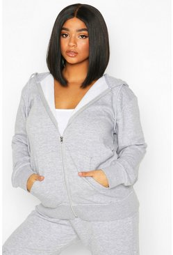 Grey Plus Basic Oversized Zip Through Hoody
