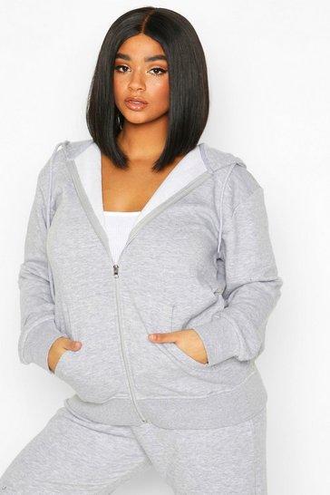 Grey Plus Basic Oversized Zip Through Hoodie