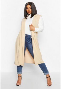 Stone beige Plus Tailored Sleeveless Duster