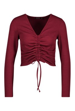 Berry Petite Long Sleeve Ribbed Ruched Detail Top