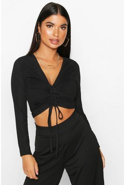 Black Petite Long Sleeve Ribbed Ruched Detail Top