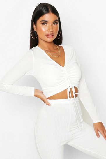 Ivory white White Petite Long Sleeve Ribbed Ruched Detail Top