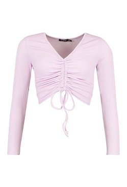 Lilac Petite Long Sleeve Ribbed Ruched Detail Top