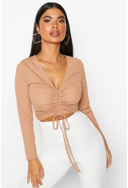 Toffee beige Petite Long Sleeve Ribbed Ruched Detail Top
