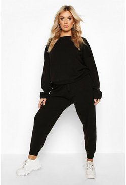 Black Plus Knitted Jumper & Jogger Set