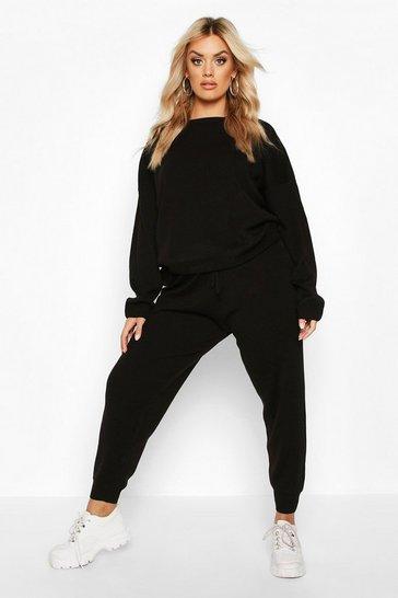 Black Plus Knitted Jumper & Jogger Set