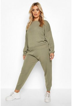 Khaki Plus Knitted Sweater & Jogger Set