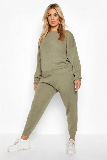 Khaki Green Plus Knitted Jumper & Jogger Set