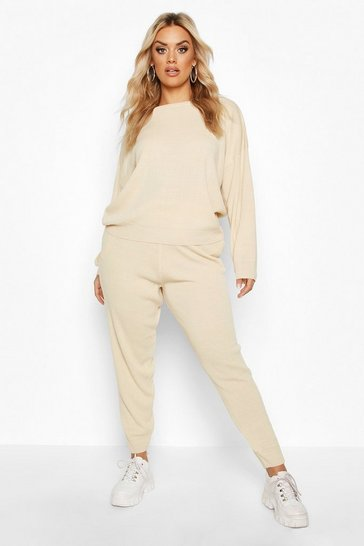 Stone beige Beige Plus Knitted Jumper & Jogger Set