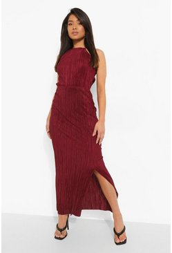 Red Petite Plisse Pleated Thigh Split Maxi Dress