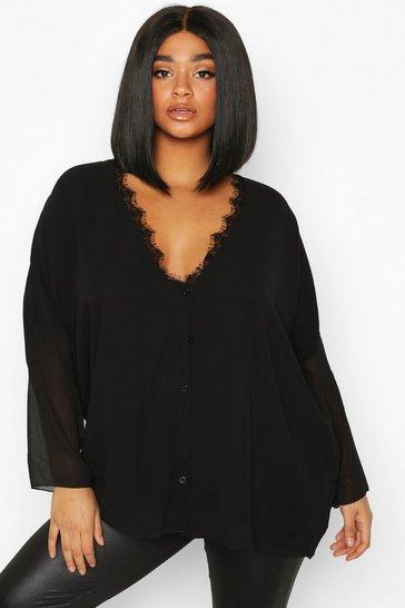 Black Plus Lace Trim Long Sleeve Blouse