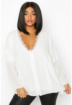 Ivory white Plus Lace Trim Long Sleeve Blouse