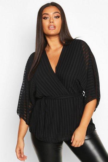 Black Plus Stripe Kimono Sleeve Peplum Wrap Tie Blouse