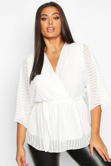 Ivory white White Plus Stripe Kimono Sleeve Peplum Wrap Tie Blouse