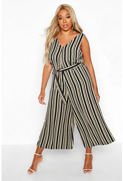 Stone Plus Stripe Self Belt Culotte Jumpsuit